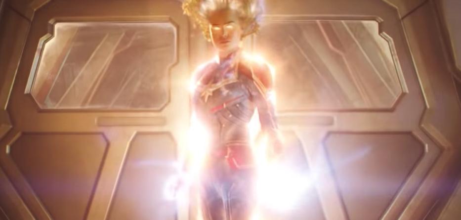 Carol Danvers AKA Captain Marvel in una scena del film